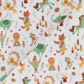 Tissu coton Wild Phineas Circus - blanc x 10cm