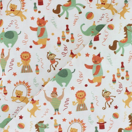 Organic Cotton fabric - white Wild Phineas Circus x 10cm