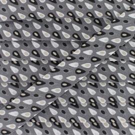Biais Coton Miluz 20 mm - Gris x 1m