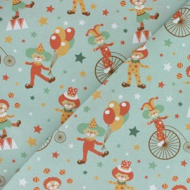 Organic Cotton fabric - green Comical Phineas Circus x 10cm