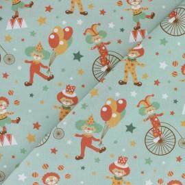 Tissu coton Comical Phineas Circus - vert x 10cm