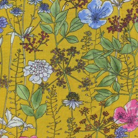 Cotton viscose Fabric - Yellow Tillia x 10cm