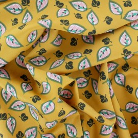 Polyester satin fabric - yellow Pocatika x 50cm
