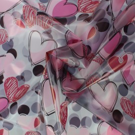 Special rain Transparent waterproof fabric - Heart x 10cm