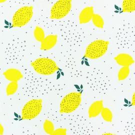 Tissu jersey parfumé Citron - blanc x 10cm