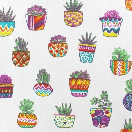 Coated cretonne cotton Fabric - raw Succulents x 10cm