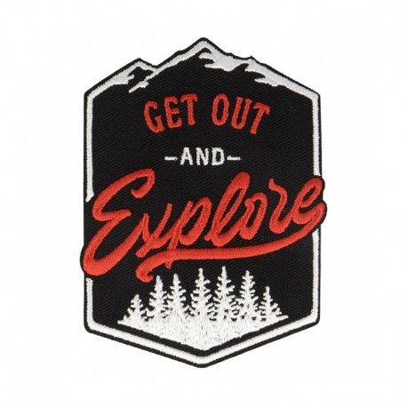 Get Out and Explore Iron-On Patch - Black/Red