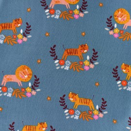Cotton Dashwood fabric - blue Tiger Meadow Safari x 10cm