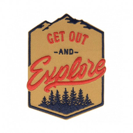 Get Out and Explore Iron-On Patch - Camel/Red