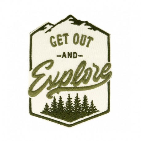 Get Out and Explore Iron-On Patch - Ecru/Green