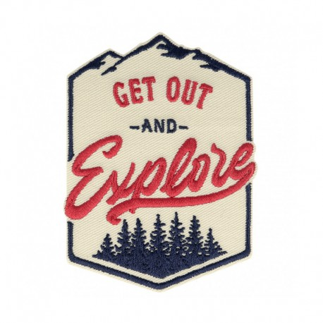 Get Out and Explore Iron-On Patch - Beige/Red