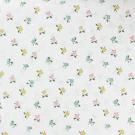 Flowery cotton voile fabric - white Marie x 10cm
