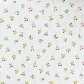 Tissu voile de coton à fleurs Marie - blanc x 10cm