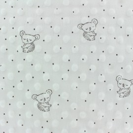 Dotted Minkee velvet fabric - raw Little koala x 10cm