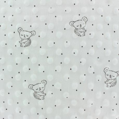 Tissu Velours Minkee doux relief à pois Little koala - écru x 10cm