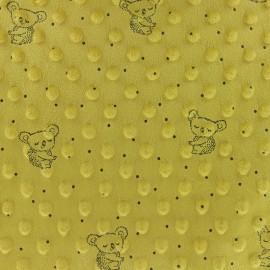 Tissu Velours Minkee doux relief à pois Little koala - jaune moutarde x 10cm
