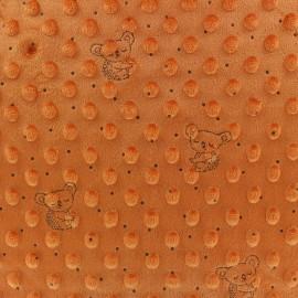 Tissu Velours Minkee doux relief à pois Little koala - rouille x 10cm