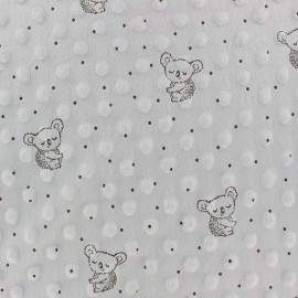 Dotted Minkee velvet fabric - light grey Little koala x 10cm