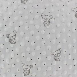 Tissu Velours Minkee doux relief à pois Little koala - gris clair x 10cm