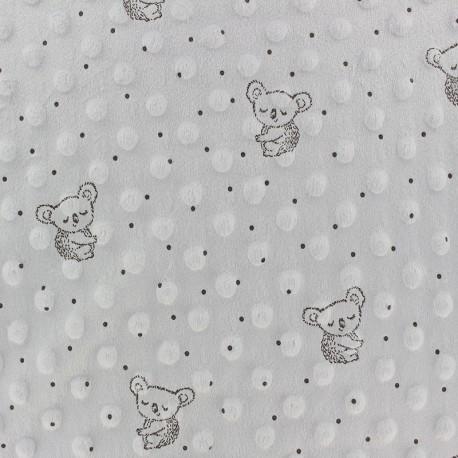 Dotted Minkee velvet fabric - light grey Little koala x 10cm
