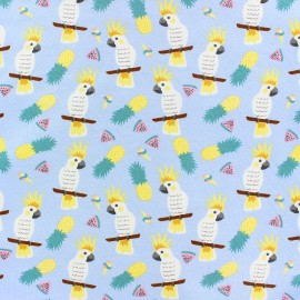 Cotton Jersey fabric - blue Alohananas x 10cm