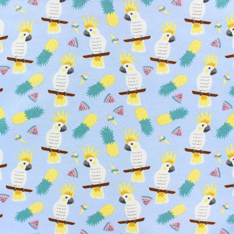 Cotton Jersey fabric - blue Little Pegasus x 10cm
