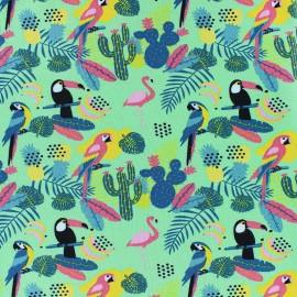 Tissu jersey Tropic-aloha - vert x 10cm