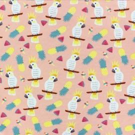 Cotton Jersey fabric - pink Alohananas x 10cm
