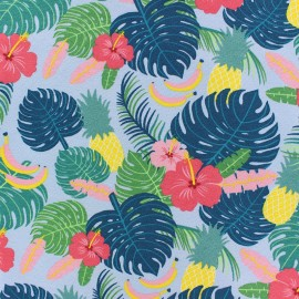 Tissu jersey Tropic-aloha - bleu x 10cm