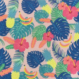 Cotton Jersey fabric - green Tropic-aloha x 10cm