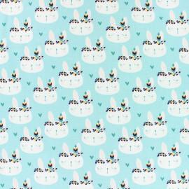 Tissu sweat léger Boho rabbit - bleu x 10cm