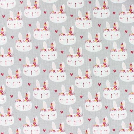 French Terry Fabric - grey Feline x 10cm