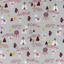 French Terry Fabric - grey Llama & teepee x 10cm