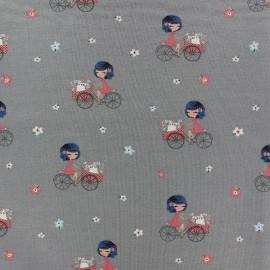 Tissu sweat léger A Bicyclette - gris x 10cm
