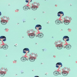 Tissu sweat léger A Bicyclette - vert x 10cm