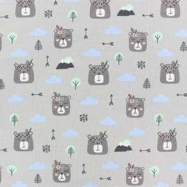 French Terry Fabric - grey Boho rabbit x 10cm