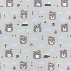 Tissu sweat léger Boho rabbit - gris x 10cm