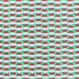 Tissu popeline Fiona Hewitt - Tiny Flowers - vert x 10cm