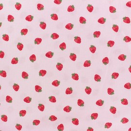 Cotton poplin fabric Poppy - pink Strawberry fields x 10cm