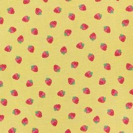 Tissu coton popeline Poppy Strawberry fields - jaune x 10cm