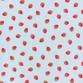 Cotton poplin fabric Poppy - blue Strawberry fields x 10cm
