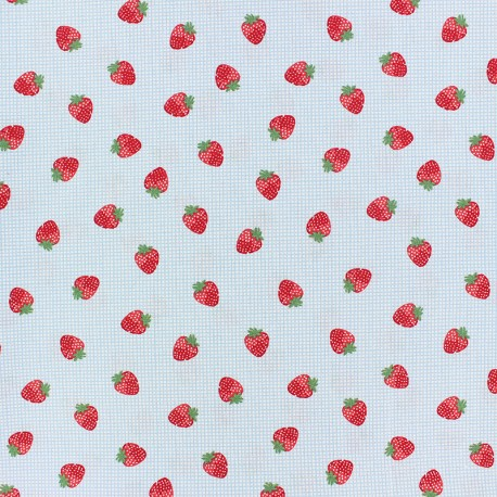 Cotton poplin fabric Poppy - yellow Strawberry fields x 10cm