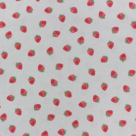 Cotton poplin fabric Poppy - grey Strawberry fields x 10cm