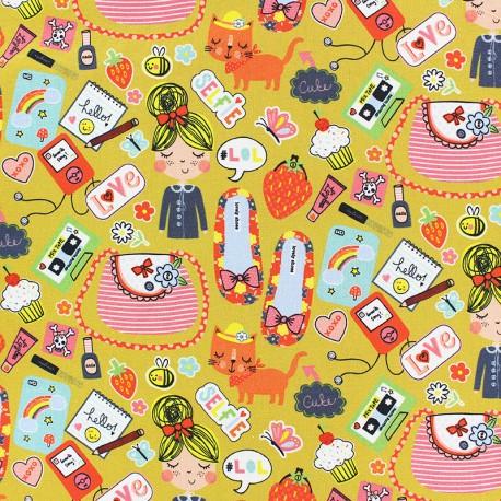 Tissu coton popeline Poppy Girls Stuff - moutarde x 10cm