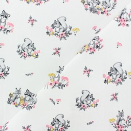 Cotton poplin fabric Poppy - White Little friends x 10cm