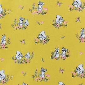 Tissu coton popeline Poppy Little friends - jaune moutarde x 10cm