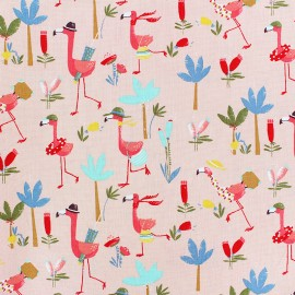 Cotton poplin fabric Poppy - pink Flamingo Run x 10cm