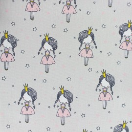 Cotton poplin fabric Poppy - Grey Flamingo Run x 10cm