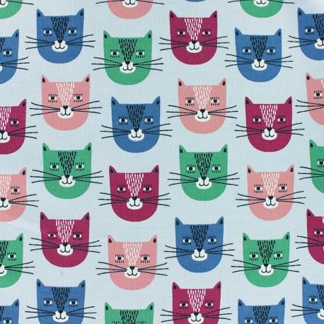 Poppy French Terry fabric - Sky Blue Chat-bada bada x 10cm