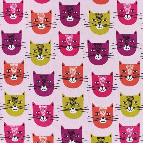 Poppy French Terry fabric - pink Chat-bada bada x 10cm